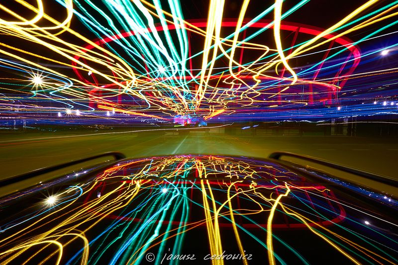 chorzow,silesia,poland,car,speed,drive,city,road,street,color,colorful,stadium,arena,football,joyride,mirror,night,light,lines, joyridephoto preview