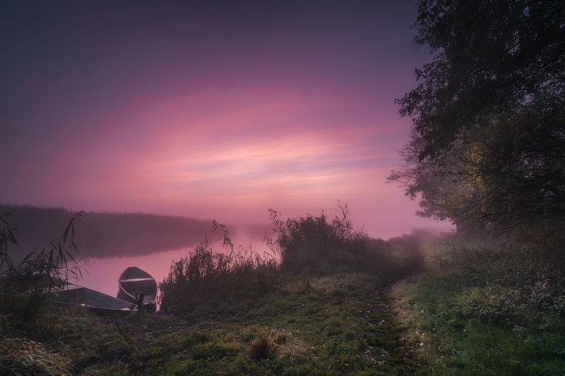 sky clouds fog river boats mist mood podlasie poland trees autumn A touch of Heaven...a dedication to Freddie Mercury...wherever He may be...photo preview