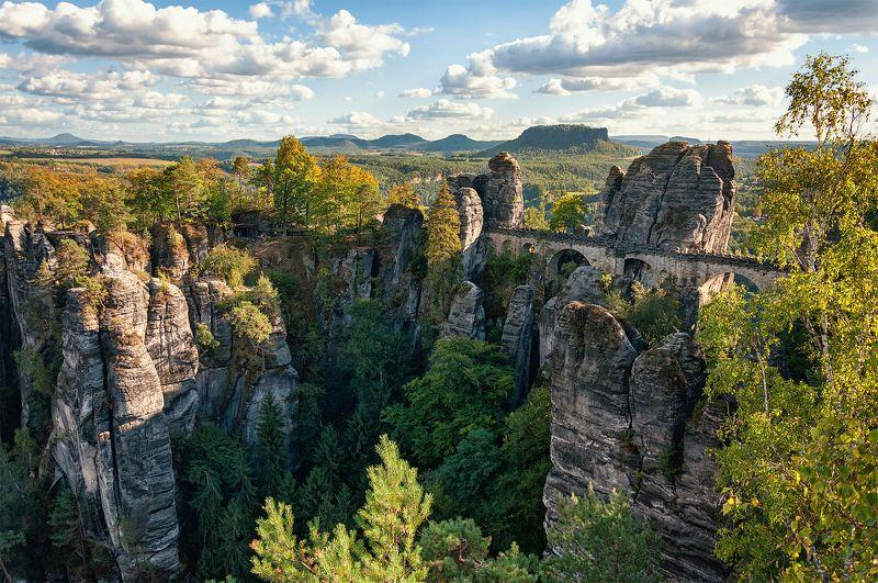 германия, саксонская швейцария, горы, бастай, лес, река, эльба, каньон, мост, тропа художников Саксонская швейцарияphoto preview