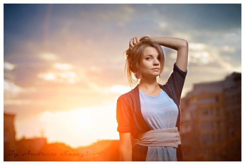портрет,  закат, portrat, sunset, one light photography, sunset, andrew samylov, canon Портрет на закате..photo preview