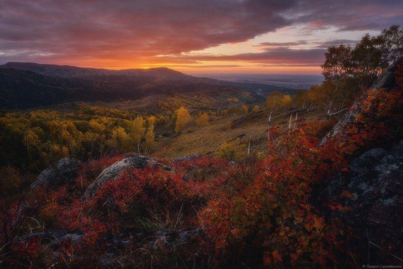 Пейзаж, Алтай, осень, горы, заря, закат, тучи, октябрь Октябрьская заряphoto preview