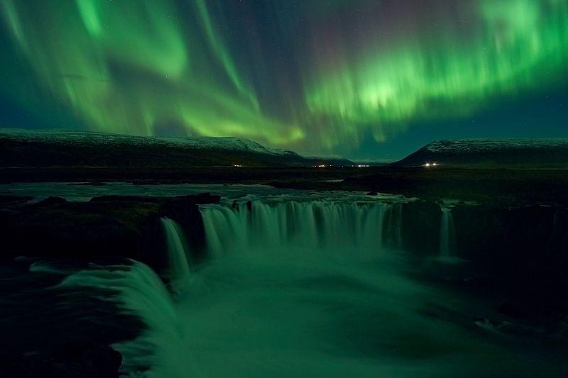 aurora,iceland,night,godafoss,waterfall Aurora9photo preview