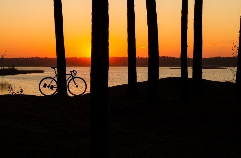 вечер туман россия велосипед закат солнце Конец дняphoto preview