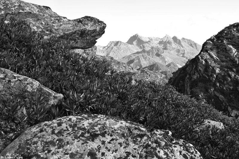 горы, розахутор, роза, розапик, каменныйстолб, простор, обзор, камень, небо, чб ***photo preview