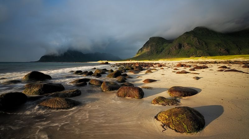 beach, sunlight, rainbow, fog, colorful, landscape, stones, vivid Uttakliev beach, Lofoten, Norwayphoto preview