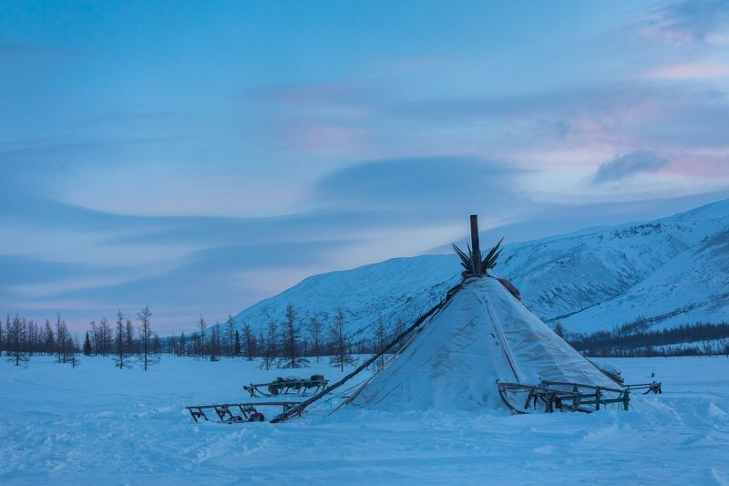 ямал, полярный, снег, закат, чум, оленеводы Закат на Ямалеphoto preview