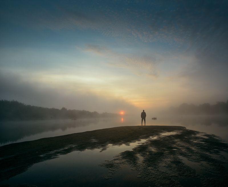 #пейзаж #мистика #фантазия #утро #природа #небо / Утро на реке... /photo preview