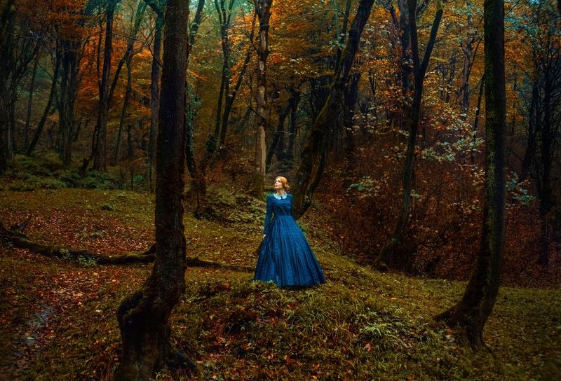 fine art model girl outdoor natural autumn color The Secret life of daydreamsphoto preview