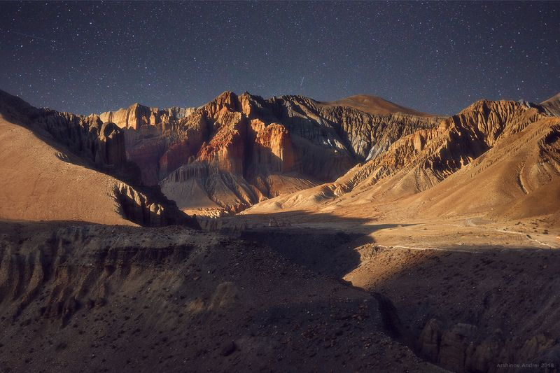nepal, mountains, upper mustang, moonlight, Другая планетаphoto preview