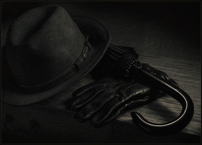 перчатки, зонт, шляпа, натюрморт ***photo preview