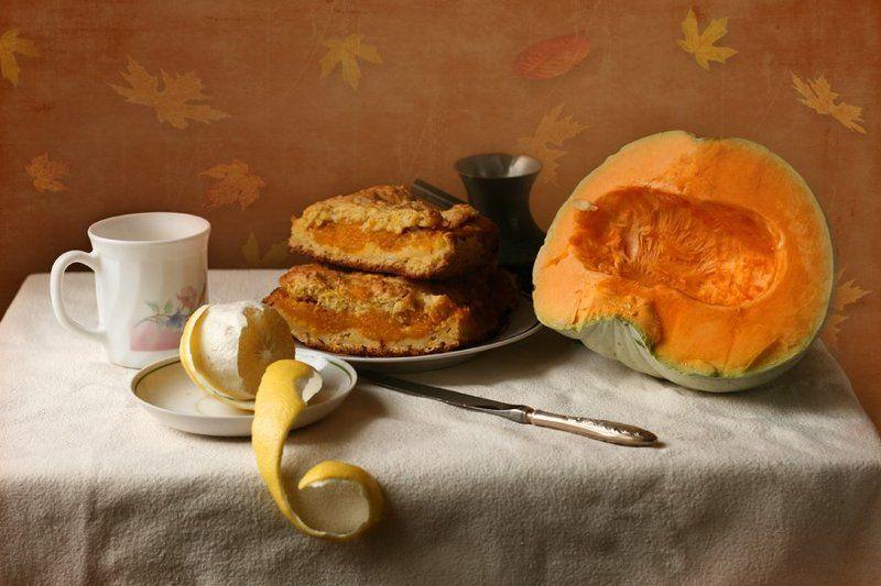 Завтрак с тыквенным пирогом.photo preview