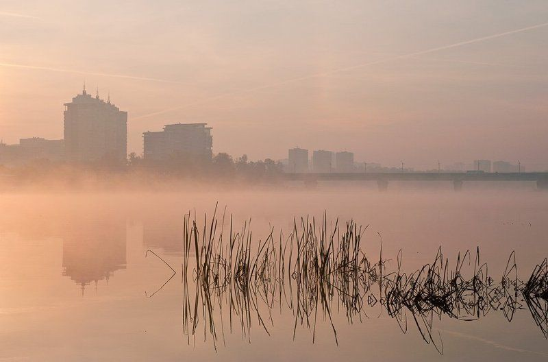 киев,русановка,гидропарк,мост метро,осень,восход, Магия рассвета..photo preview