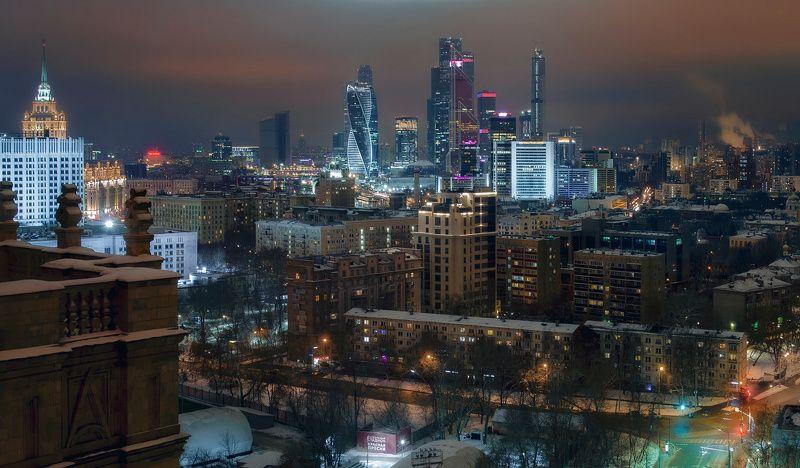 москва, город, архитектура, ночь Бьющийсяphoto preview
