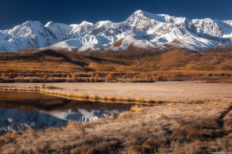 пейзаж, горы, осень, алтай, озеро, солнце, небо, ледник Осенний Ештыкельphoto preview