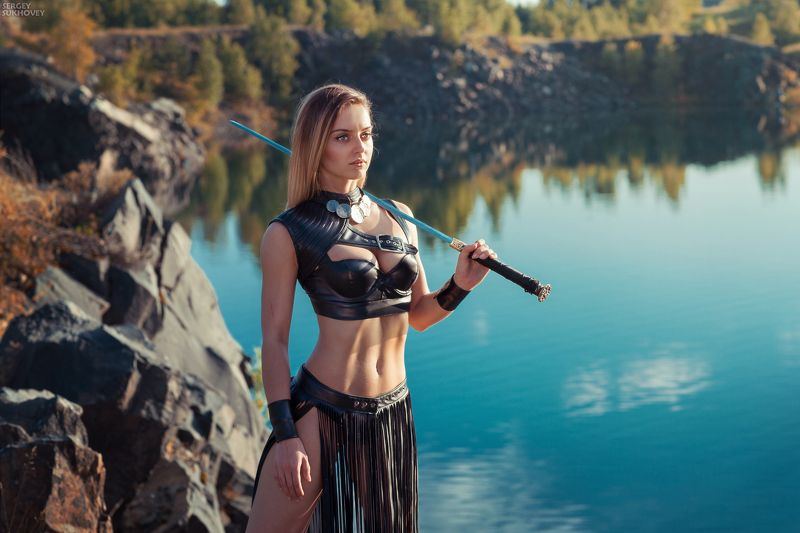 амазонка, амазонки, воительница, воин, копье, девушка воин, amazons, amazon, лук, стрелы, горы, озеро, меч, девушка с мечом Амазонка фото превью