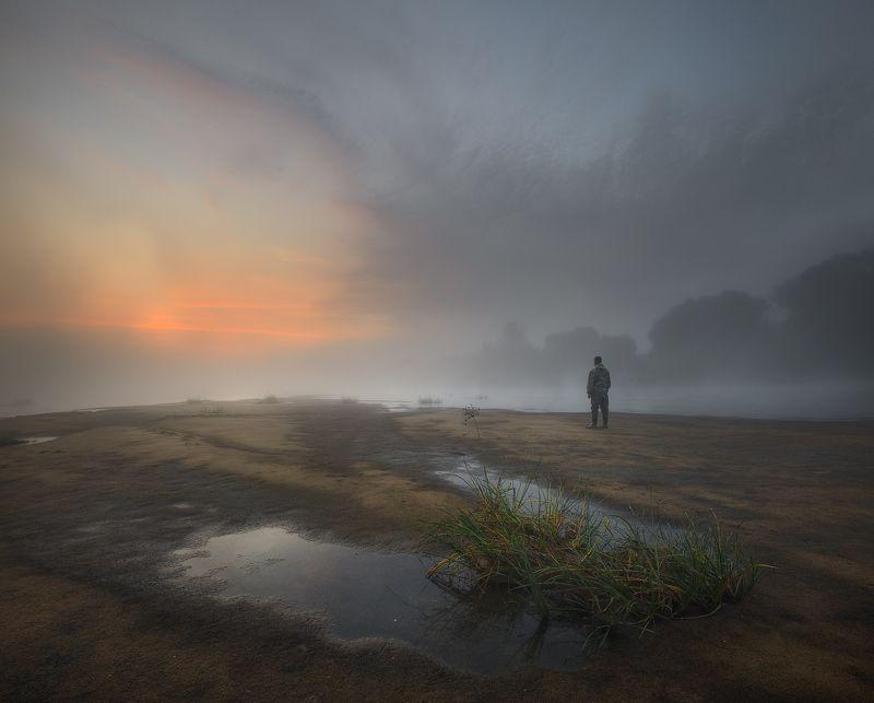 пейзаж утро река человек Там, на краюphoto preview