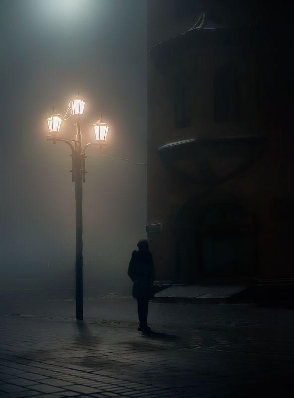 город, стрит, ночь, туман, саратов, фонарь Ночамиphoto preview