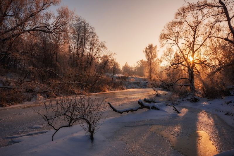 пейзаж,река, зима, мороз, снег, рыбинск, ярославская область, рассвет Рассвет зимыphoto preview