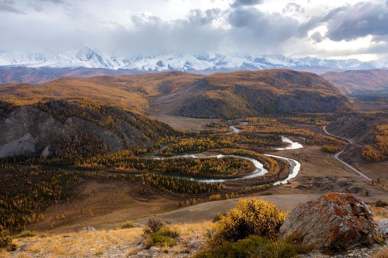чуя, чуйская степь, северо-чуйский хребет, осень, горы, река Чуяphoto preview