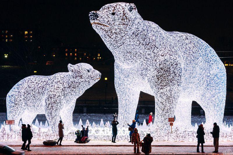 новогодние белые медведи,белые медведи,москва,новый год,оформление,парк акведук,ростокинский акведук, Новогодние Белые Медведиphoto preview