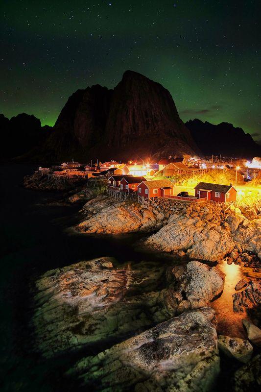 aurora,norway,night,northen lights,lofoten,reine,hamnoy Night1photo preview