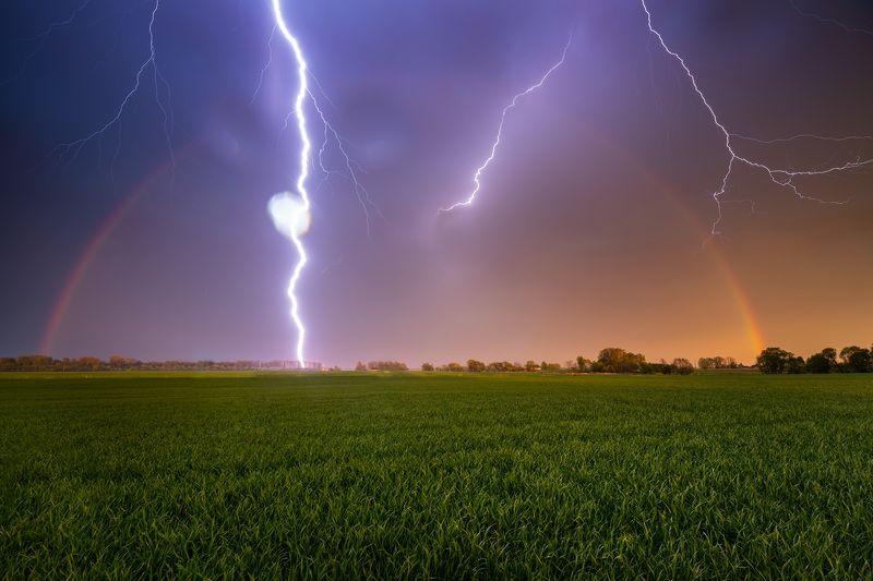 lightning rainbow latvia green spring nature power thunder  Double strikephoto preview