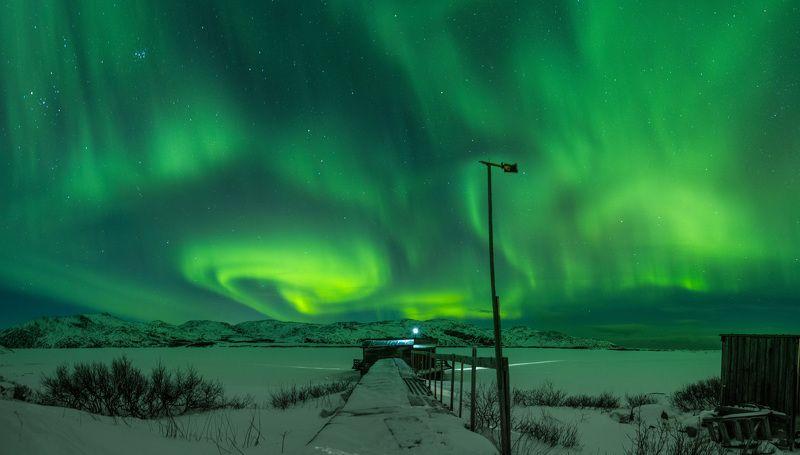 ночь, север, северное, сияние, териберка, зима, кольский, снег Причал на северphoto preview