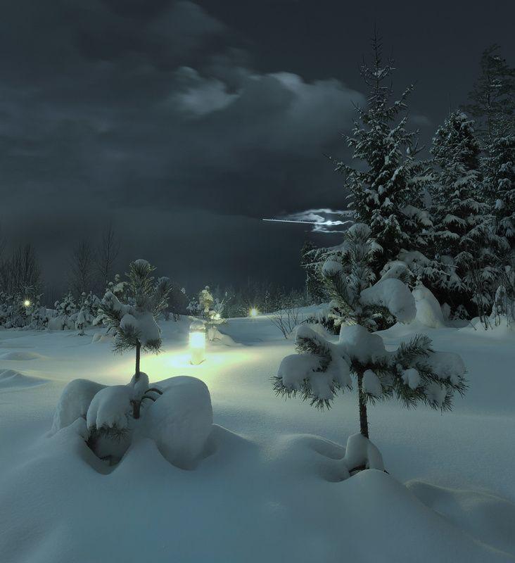 длинная выдержка, зима, ночь, луна, панорама ~136~photo preview