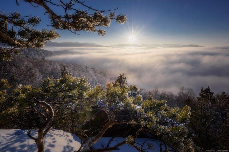алтай, белокуриха, зима, закат, облака, солнце, горы, лес, снег, пейзаж, свет, туман Чергинскийphoto preview
