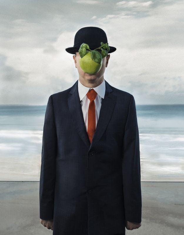 Магритт Рене, картина с яблоком, аллюзия на живопись аллюзия на Магритт Ренеphoto preview