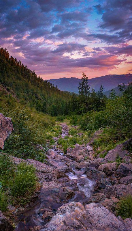хакасия,вечер,закат,ручей,горы,борус,поход Вечер у звонкого ручья.photo preview
