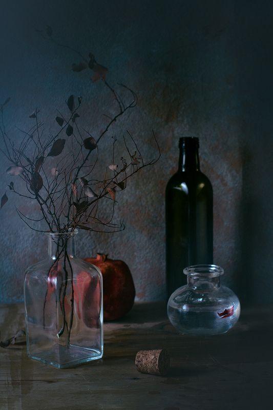 стекло, бутылки, ветка, гранат, натюрморт, вода, кораблик ***photo preview