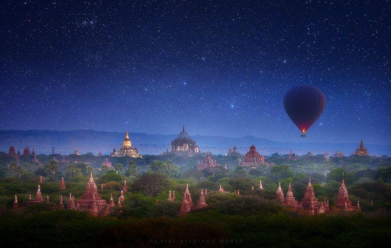 myanmar, burma, nightsky, balloon, landscape, scenic, Туманная ночь над Баганом. Бирмаphoto preview