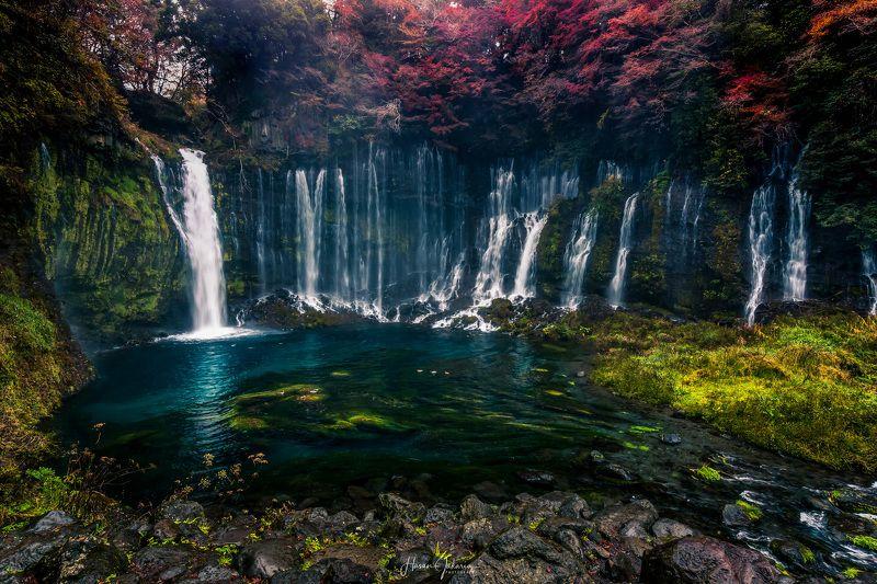 waterfalls landscape nature travel rocks autumn colors japan mt.fuji Shiraito Fallsphoto preview
