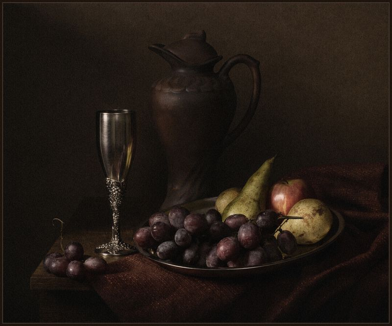 натюрморт, still life, виноград, бокал, кувшин ***photo preview