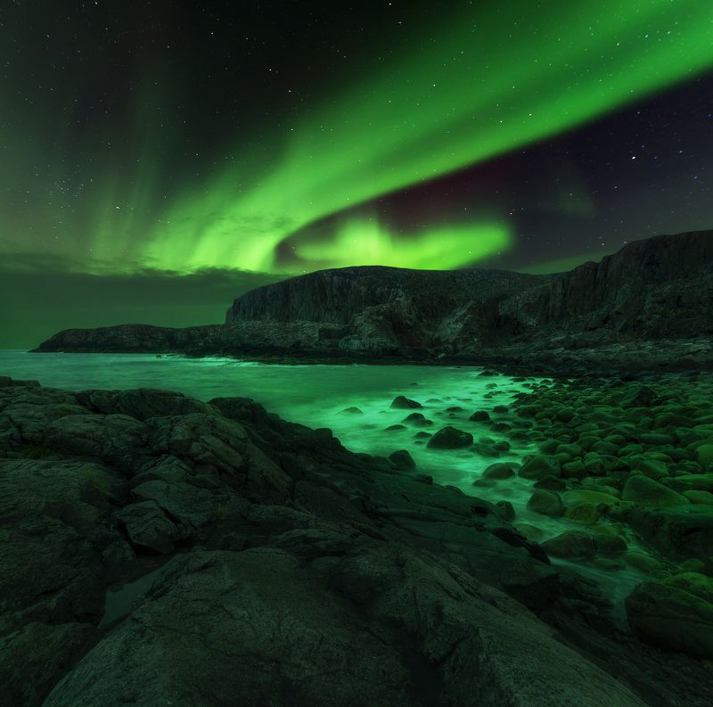 aurora borealis, северное сияние, кольский полуостров, север, россия, russia In the darknessphoto preview