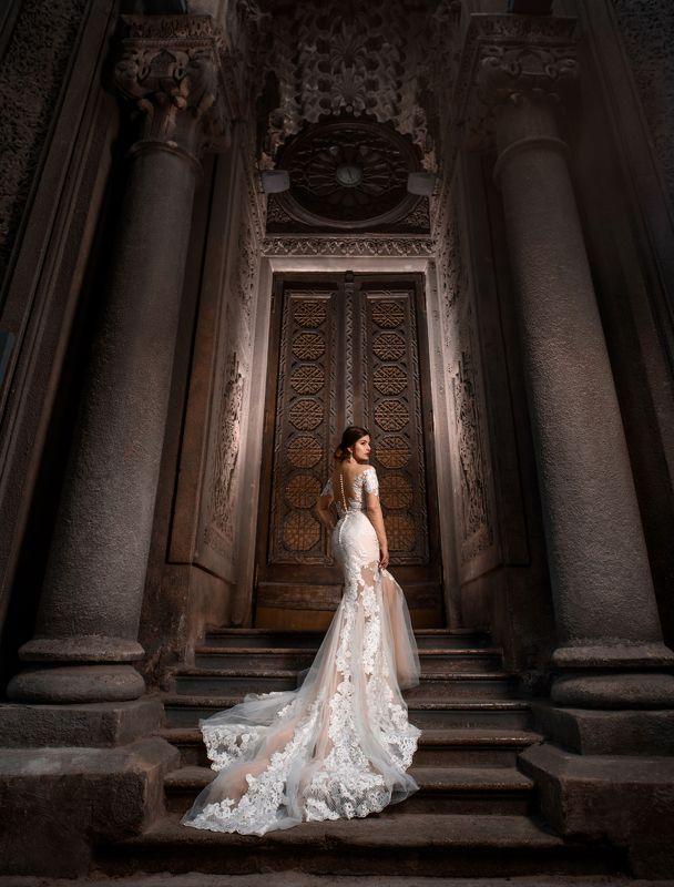 девушка, платье, архитектура, собор, свет, тень, шлейф ***photo preview