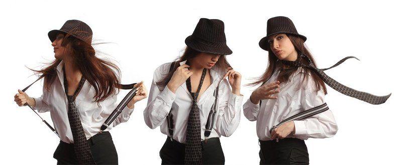 настя, девушка, шляпа, галстук, подтяжки, студия Три девицыphoto preview
