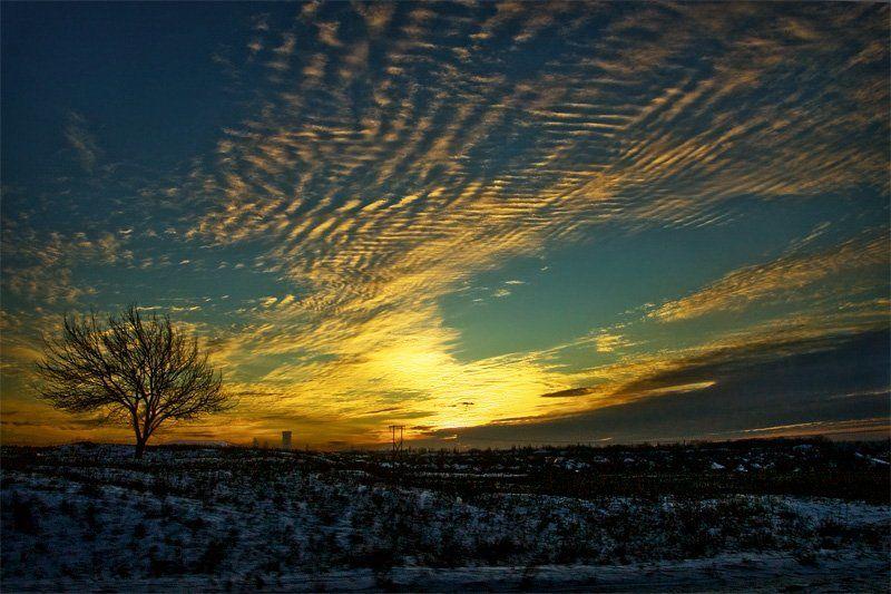 закат, небо, Разбросало по небу - движение в ночь...photo preview