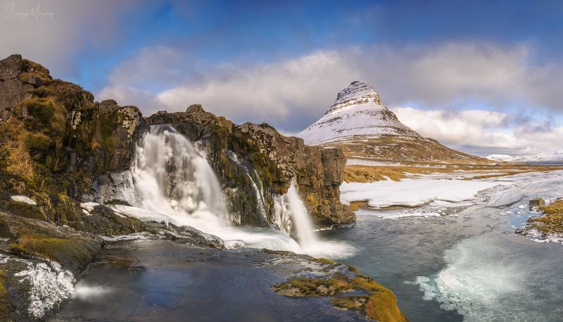 the lower waterfalls and kirkjufell The lower waterfalls and Kirkjufell.photo preview