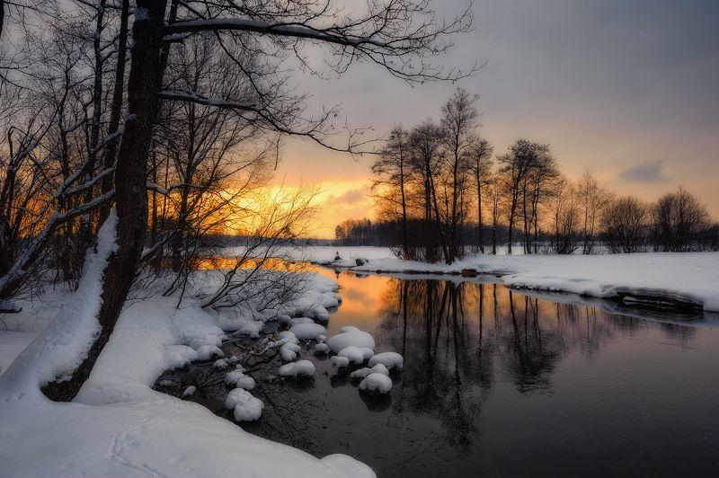 зима,февраль,вечер,прозрачный,закат,свет,вида,снег,озеро,пейзаж Прозрачный вечер февраляphoto preview