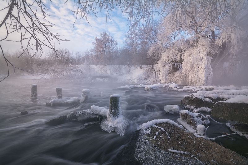 зима, мороз, иней, утро, рассвет, пейзаж, рязань Утро у Листвянкиphoto preview