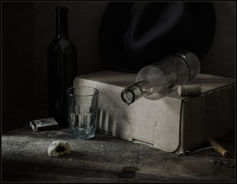 натюрморт, still life, стакан, бутылка, пряник ***photo preview