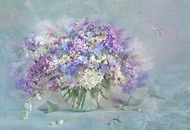 весна цветы букет ландыши незабудки сирень Весенняя гамма чувствphoto preview