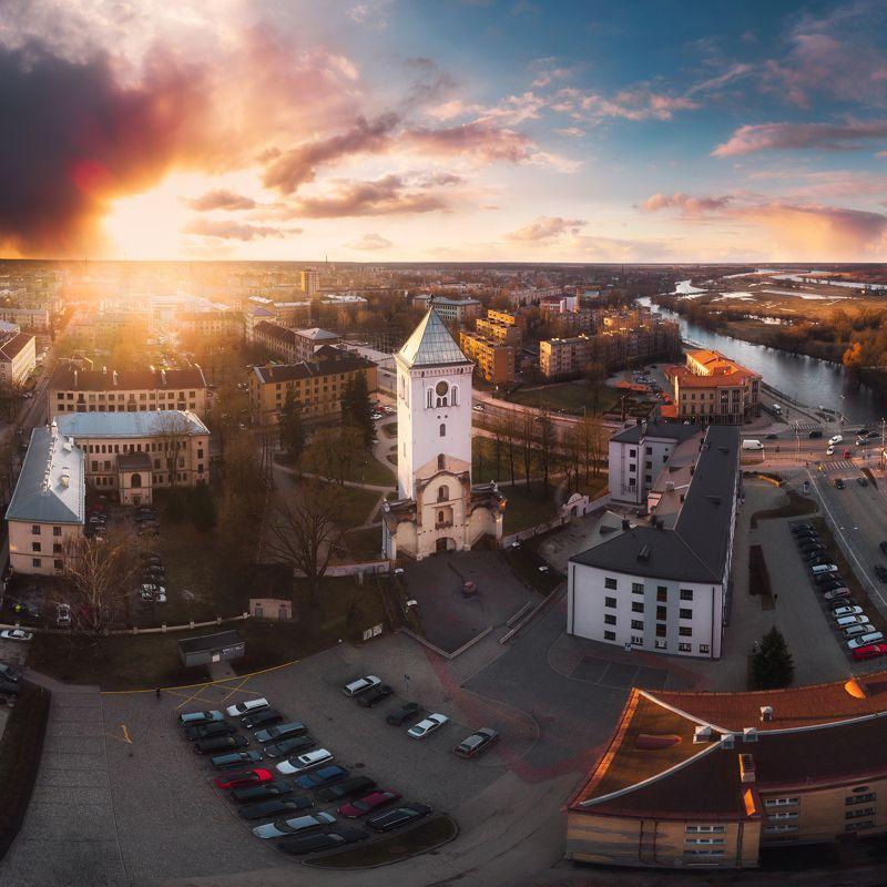 sunset,cityscape,jelgava,drone,light,city,landscape Jelgavaphoto preview