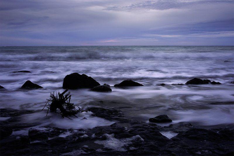 море, прибой, волны, вечернее море Чёрное море. Зимний закат.photo preview