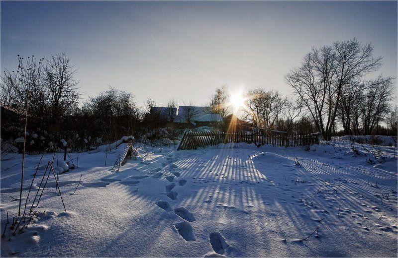 зима, тени, деревня, мороз, солнце *photo preview