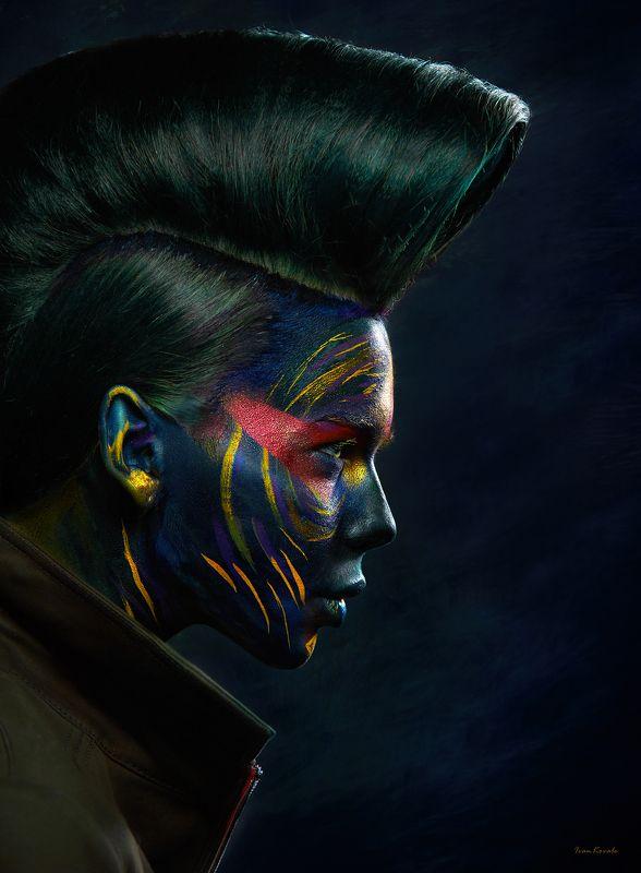 портрет, девушка, профиль, лицо, арт, макияж, космос, инопланетянин, Вторжениеphoto preview