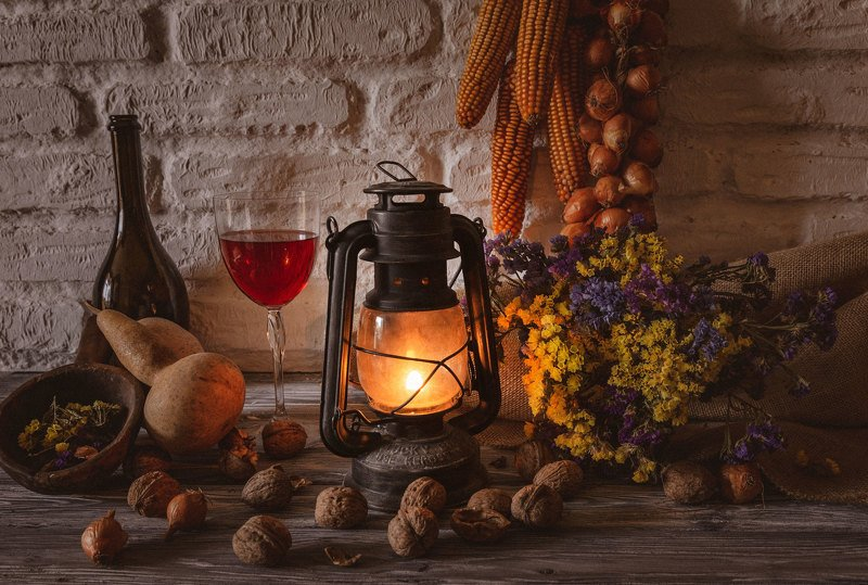 рустик, лампа, вино, декор   ***photo preview