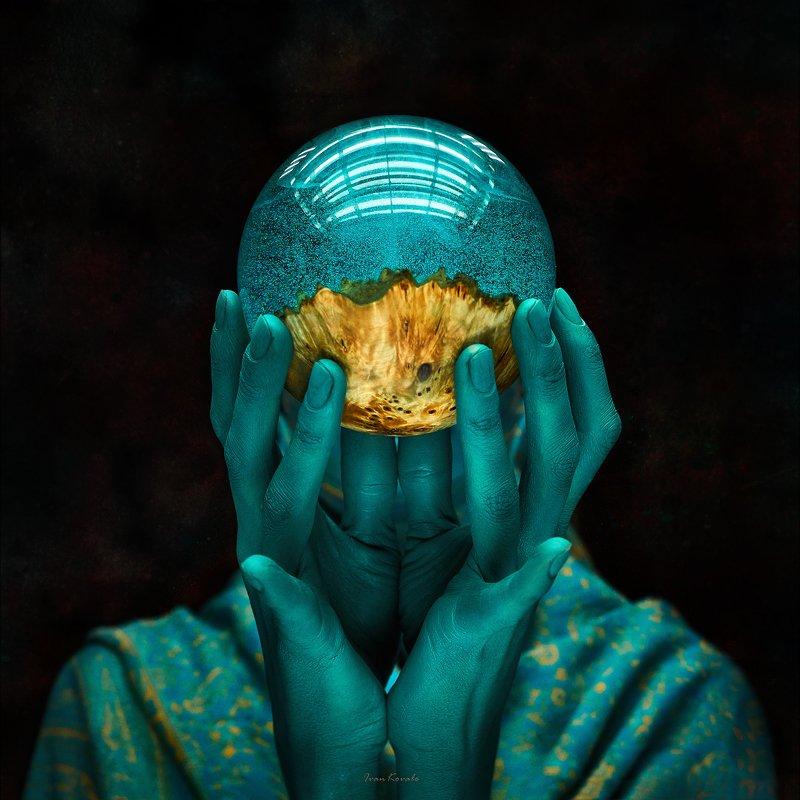 портрет, шар, магия, арт, руки, лицо, голова, цвет Лекторphoto preview